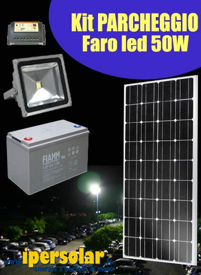 Faro Led Con Pannello Solare : Kit illuminazione parcheggio con faro led w pannello