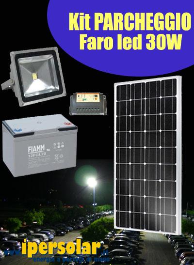 Quanto Carica Un Pannello Solare Da 100w : Kit illuminazione parcheggio con faro led w pannello