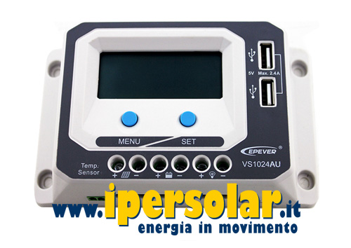 Regolatore di carica PWM 10A 12/24V mod. VS1024AU con display