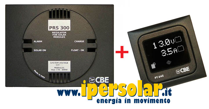 Regolatore di carica 300W CBE PRS300 + Display digitale PT642