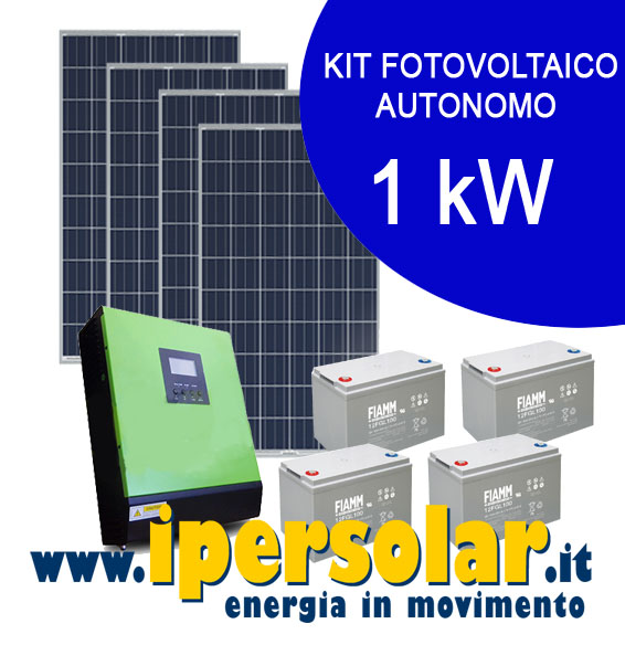 Kit solare completo 1kw pannelli inverter batterie - Mini kit fotovoltaico ...