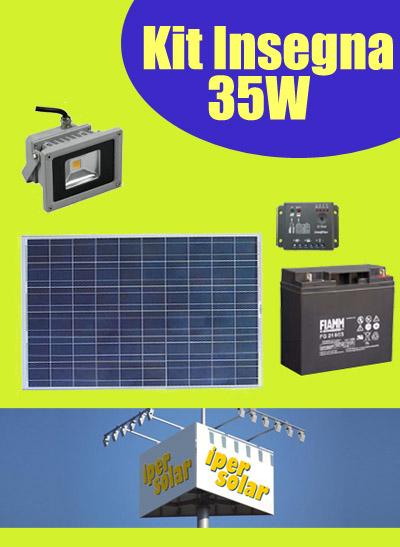 Kit Pannello Solare 10w : Kit solare illuminazione insegna con faretto led w