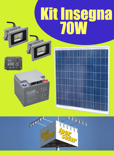 Pannello Solare Con 2 Faretti : Insegne fotovoltaiche