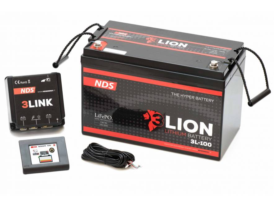 3LION Batteria litio LiFePo4 12V-100Ah + BMS da 100A + 3LINK