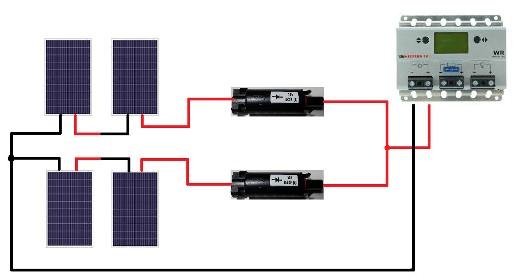 Schema Collegamento Neon In Serie : Connettore mc con diodo di blocco da a per parallelo